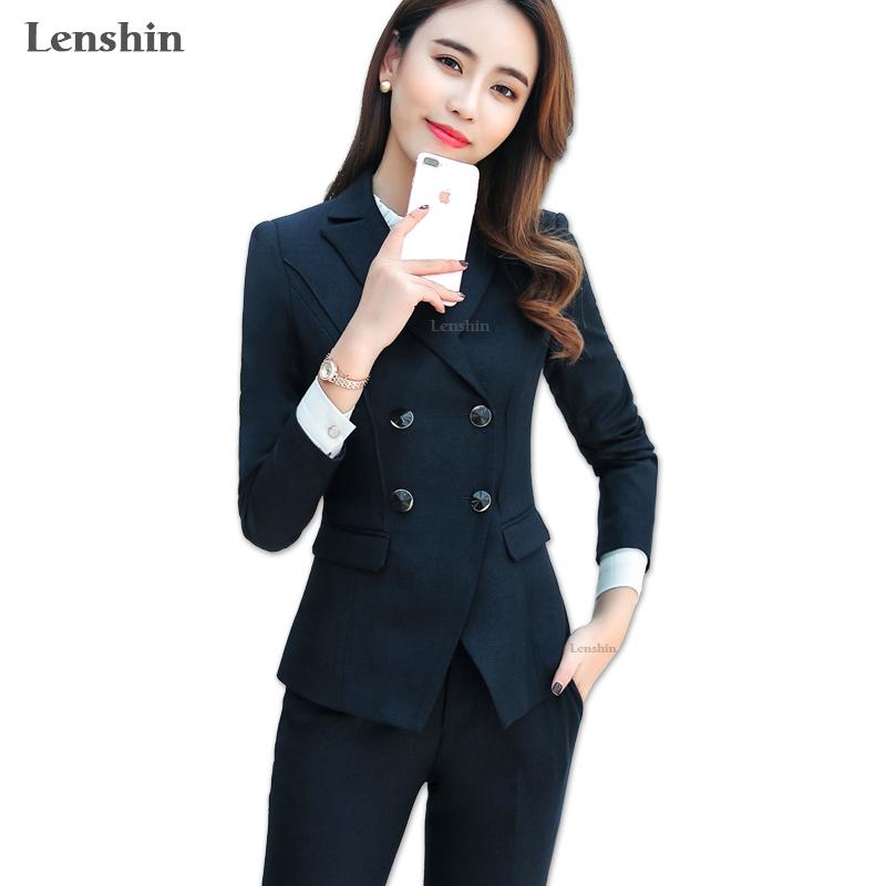 [해외]Lenshin 2 조각 세트 더블 브레스트 긴 Retail 정장 바지 SuitPocket 여성 작업 착용 사무실 숙녀 유니폼 스타일 비즈니스/Lenshin 2 Pieces Set Double Breasted Long Sleeve Formal Pant SuitPo