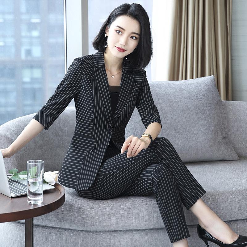 [해외]새로운 블레 이저 정장 솔리드 간단한 여자 바지 정장 2 2 조각 세트 긴 슬림 자켓 & amp; 바지 여성 고품질의 비즈니스 복장/New Blazers Suit Solid Simple Women Pants Suits 2 Two Piece Sets Lon