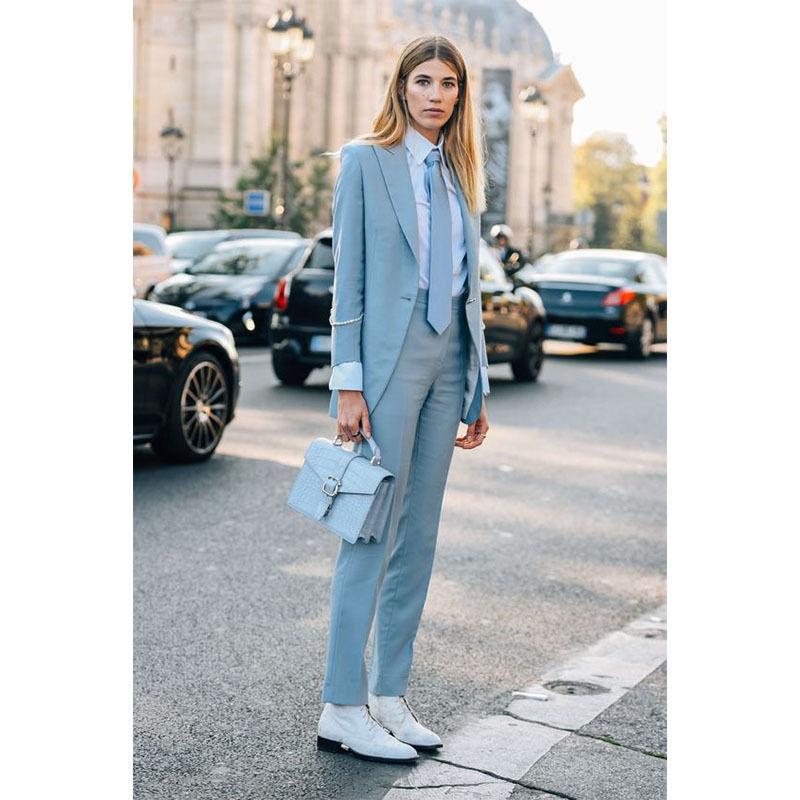 [해외]라이트 스카이 블루 여성 비즈니스 정장 여성 사무실 유니폼 우아한 바지 정장 레이디 슈트/Light Sky Blue Womens Business Suits Female Office Uniform Elegant Pant Suits lady suit