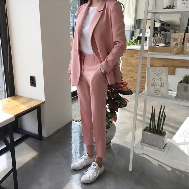 [해외]봄과 가을 새로운 한국 더블 브레스트 정장 재킷 + 하이 웨이스트 캐주얼 9 포인트 피트 바지 두 정장 여성/Spring and Autumn New Korean double-breasted suit jacket + high waist casual nine poi