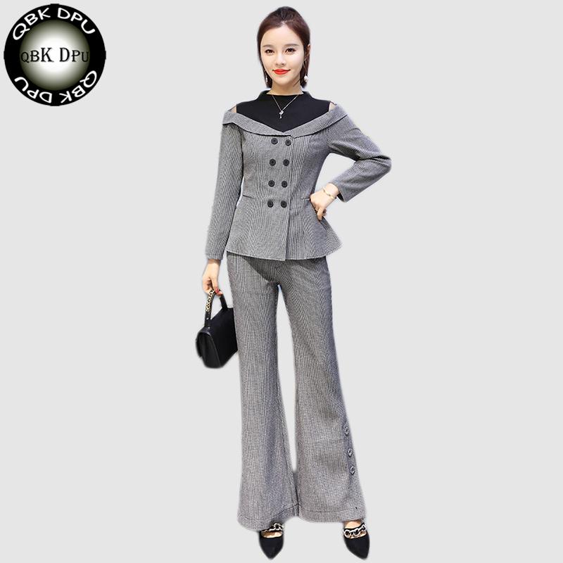 [해외]두 조각 세트 회색 여성 바지 정장 슬림 한 제복 공식 스타일 Office Lady 비즈니스 취업 직업 복장/Two Piece Set gray Women Pant Suit slim Uniform Designs Formal Style Office Lady Busi