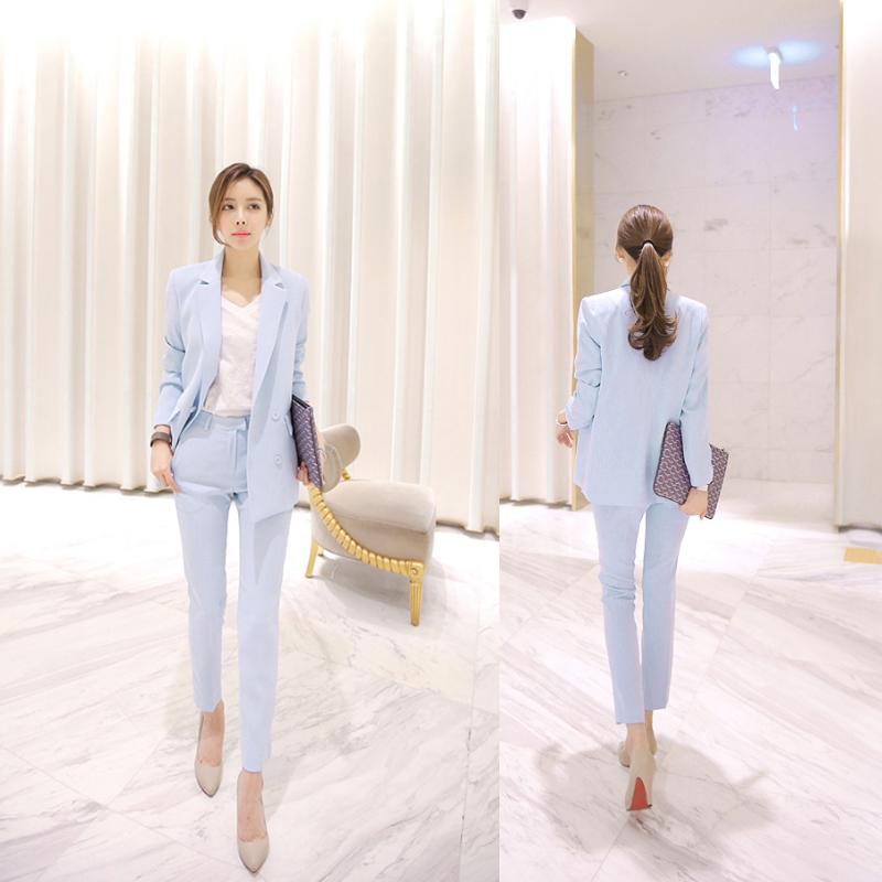 [해외]2018 Office Ladies Blazer 바지 정장 2 개 세트 여성용 노치 자켓 및 Long Pant Workwear Fashion Business Outfits feminino/2018 Office Ladies Blazer Pant Suits 2 Pie