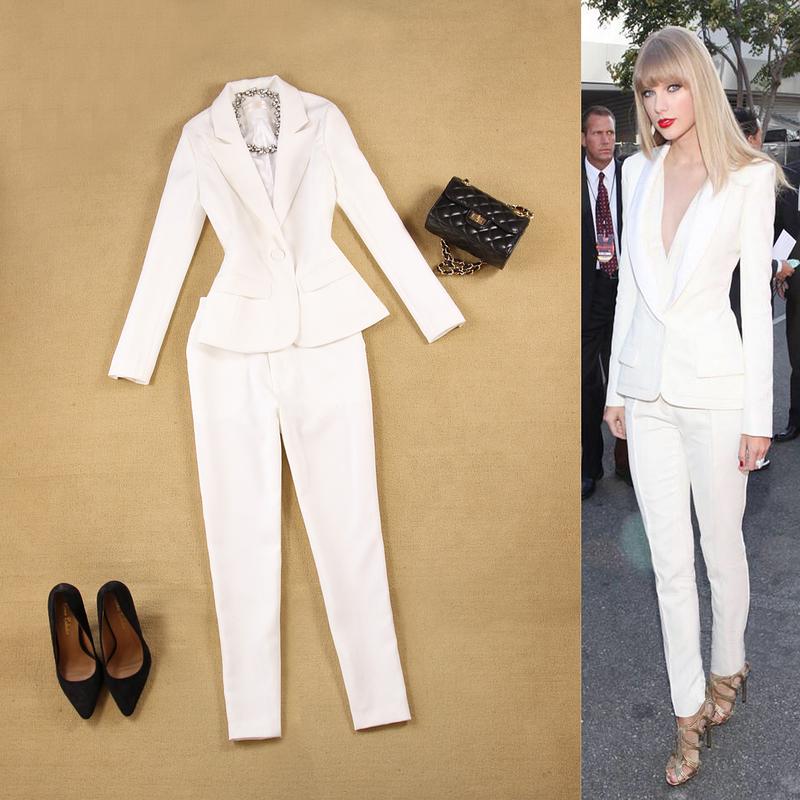 [해외]전문 여성 정장 사무실 비즈니스 Ol 흰색 정식 신사 숙 녀 바지 정장 두 조각 블랙 유니폼 블레이저 세트 숙 녀 정장/Professional Women Suits Office Business Ol White Formal Ladies Pant Suits Two