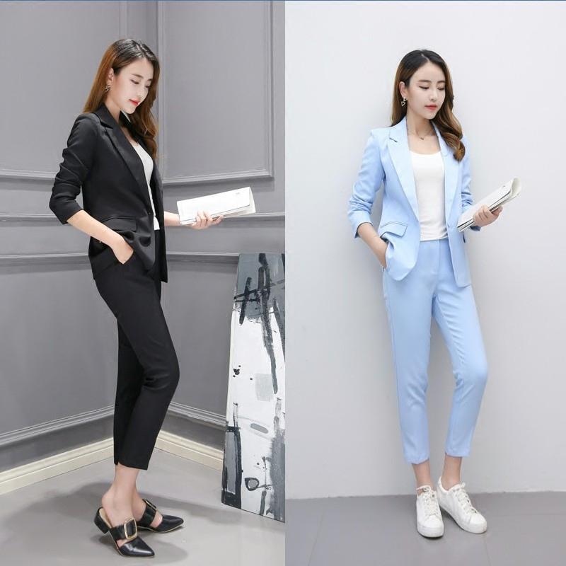 [해외]정장 여성 가을 ??패션 2018 새로운 비즈니스 착용 한국어 캐주얼 스몰 슈트 여성 & 크로프트 팬츠 / 2 피스 세트 여성/Suit Women Autumn Fashion 2018 New Business Wear Korean Casual Small Su