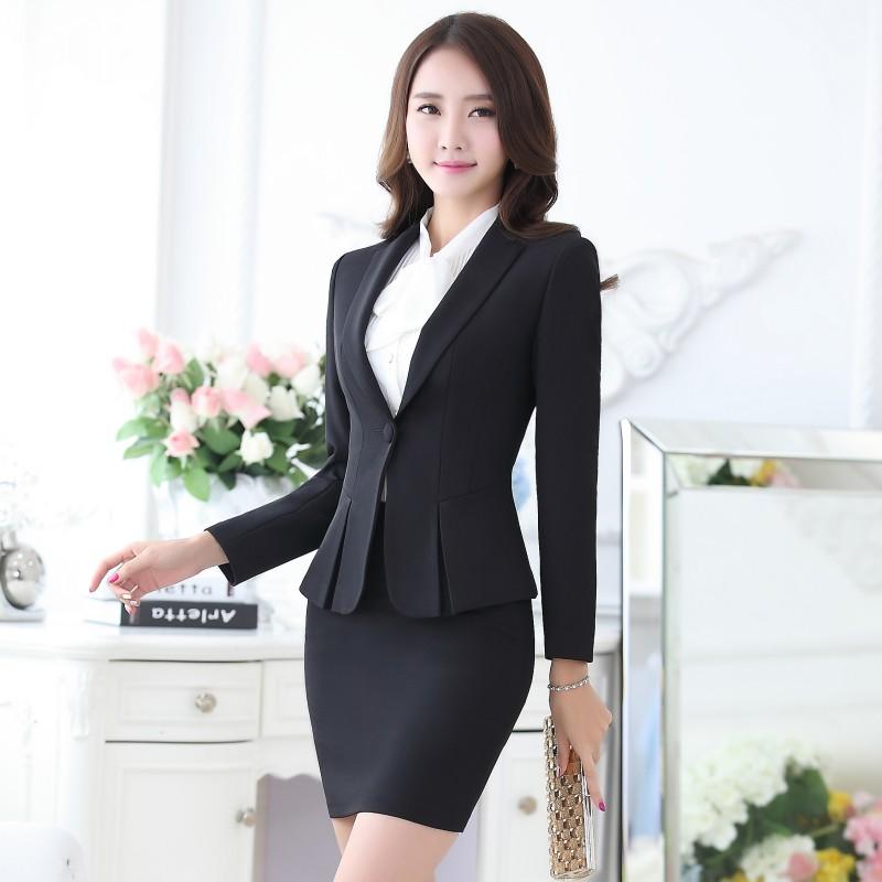 [해외]정장 블랙 자켓 여성 비즈니스 SuitsSkirt 및 최고 우아한 숙녀 사무실 작업복 제복 OL 스타일 정장 설정/Formal Black Blazer Women Business SuitsSkirt and Top Sets Elegant Ladies Office S