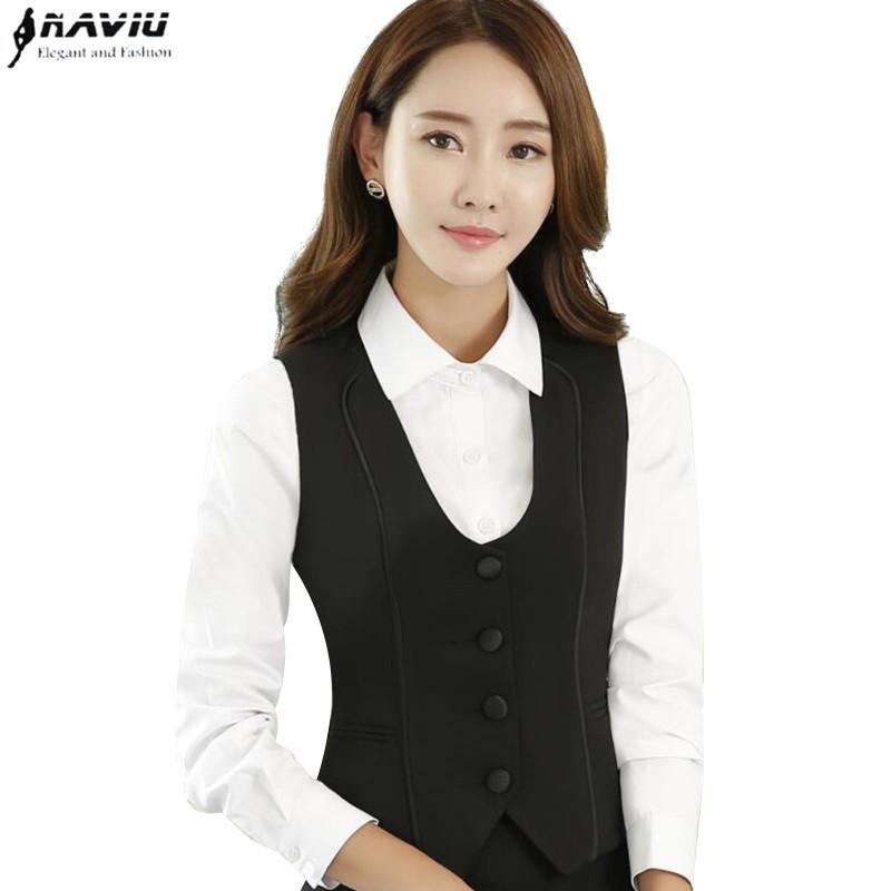 [해외]봄 패션 검은 색 조끼 치마 정장 OL 비즈니스 공식 V - 목 조끼와 스커트 사무실 숙녀 플러스 사이즈 작업복 유니폼/spring fashion black vest skirt suits set OL business formal V-Neck vest and sk