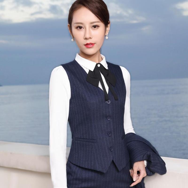 [해외]2017 봄 전문 정장 여성 스트라이프 조끼 스커트 맞는 OL 패션 슬림 사무실 숙녀 플러스 크기 작업복 조끼 정장/2017 Spring professional formal female stripe vest skirt suits OL fashion slim of