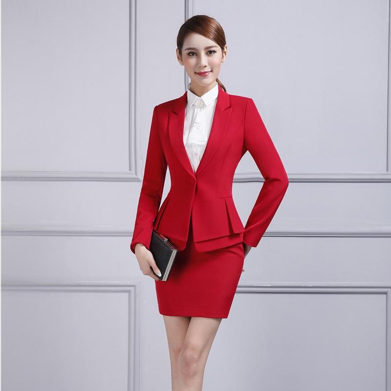 [해외]공식적인 여성 빨간 블레이저 여성 스커트 정장 재킷 세트 우아한 숙녀 비즈니스 정장 사무실 유니폼 디자인 OL 스타일/Formal Female Red Blazer Women Skirt Suits Jacket Sets Elegant Ladies Business S