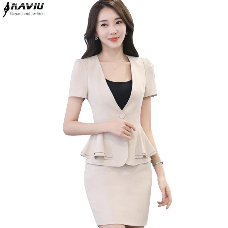 [해외]우아한 여름 슬림 워크웨어 OL 정장 여름 짧은 Retail  치마 반바지 재킷 사무복 플러스 사이즈/Work wear skirt suit female slim elegant fashion OL summer short sleeve ruffles hem blaze