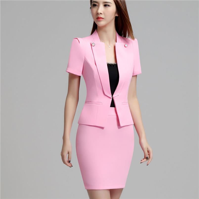 [해외]블레 이저 재킷 + 치마 여름 짧은 Retail 복장 세트 호텔 작업복 공식 유니폼 여성 비즈니스 우아한 Brazer 정장/Blazer Jacket+ Skirt Summer Short Sleeve Suit Set Hotel Work Clothes Formal U