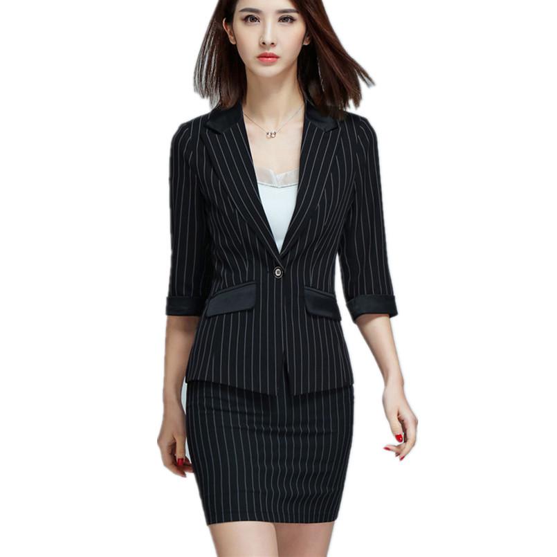 [해외]블루 블랙 스트라이프 오피스 여성 비즈니스 스커트 양복 하프 슬리브 숙녀 슬림 블레이 저지 스커트 유니폼 2 피스 세트 의류/Blue Black Striped Office Womens Business Skirt Suit Half Sleeve Ladies Slim