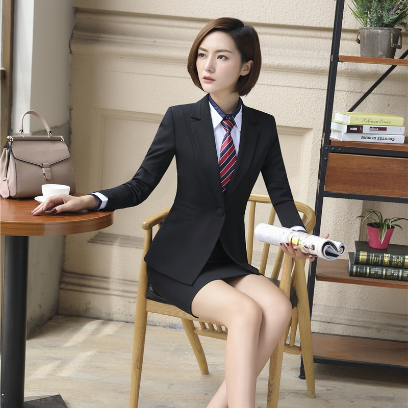 [해외]블랙 블레이저 여성 비즈니스 정장 공식 사무실 Ladie 스커트 & 재킷 세트 Work Wear Uniforms/Black Blazers Women Business Suits Formal Office Ladie Skirt and Jacket Sets Wo