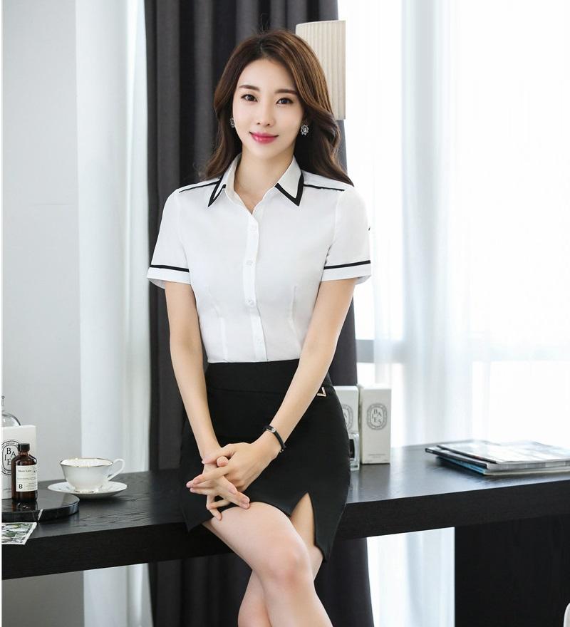 [해외]정장 투피스 세트 여성용 정장 스커트 & 탑스 세트 화이트 여름용 블라우스 & amp; 셔츠 사무복/Formal Two Piece Sets Women SuitsSkirt and Tops Sets White Summer Blouses & Sh