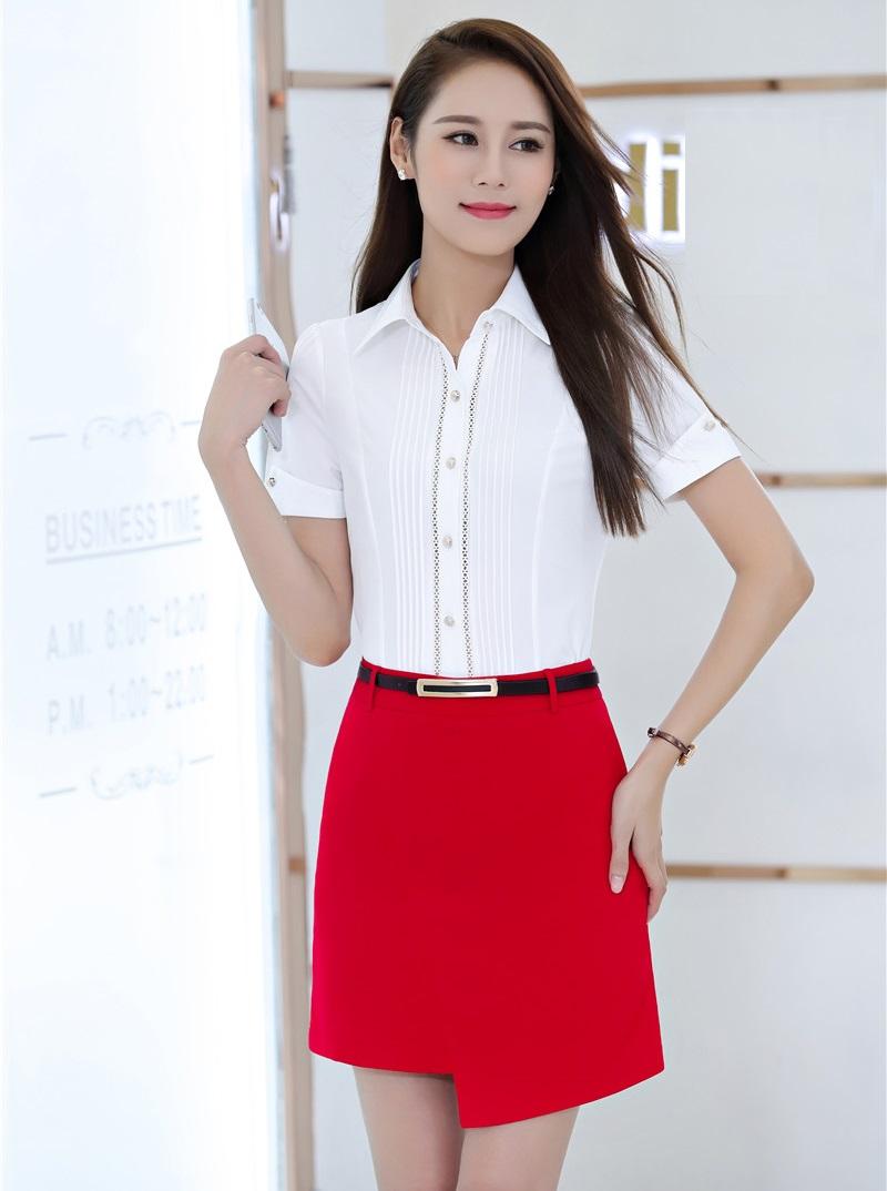 [해외]여름 정장 투피스 세트 여성 작업복 SuitsSkirt 및 탑 세트 Office Ladies White Blouses & amp; 셔츠 반팔/Summer Formal Two Piece Set Women Work Wear SuitsSkirt and Top