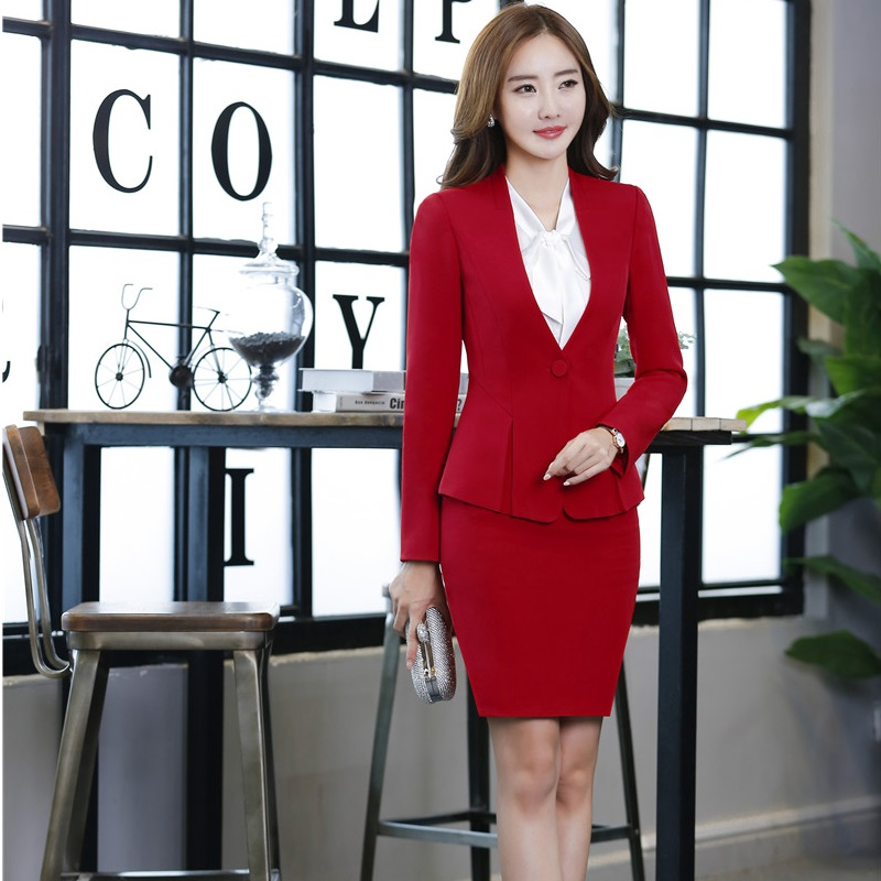 [해외]전문 유니폼 스타일 가을 겨울 OL 공식 블레이저 재킷과 오피스 숙녀 블레이저 스커트 정장 레드/Professional Uniform Styles Autumn Winter OL Formal BlazersJackets And Skirt For Office Ladi