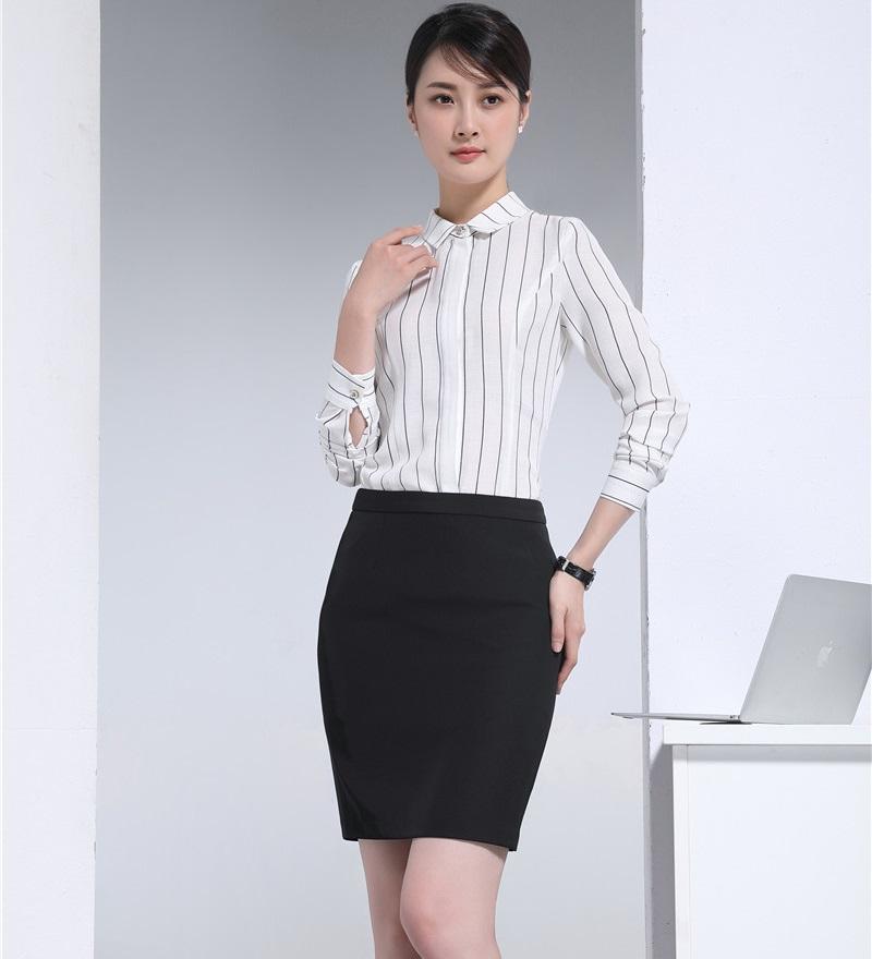 [해외]여성 작업 착용 Suits2 조각 스커트 및 상위 집합 숙녀 흰색 줄무늬 블라우스 & amp; 셔츠 사무복/Women Work Wear Suits2 Piece Skirt and Top Sets Ladies White Striped Blouses &