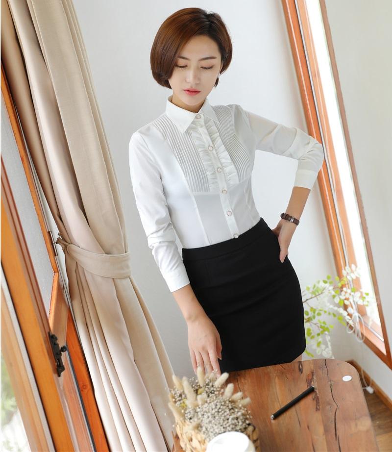 [해외]사무실 유니폼 디자인 여성 비즈니스 정장 2 피스 스커트 및 탑 세트 숙녀 흰 블라우스 & amp; 셔츠 OL 스타일/Office Uniform Designs Women Business Suits 2 Piece Skirt and Top Set Ladies