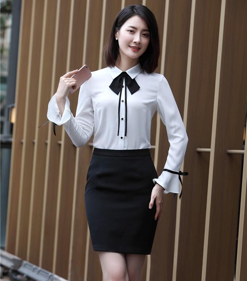 [해외]투피스 세트 여성 스커트 및 탑 세트 Office Ladies Work Wear Suits White Blouses & amp; 셔츠 OL 스타일/Two Piece Sets Women Skirt and Top Sets Office Ladies Work W