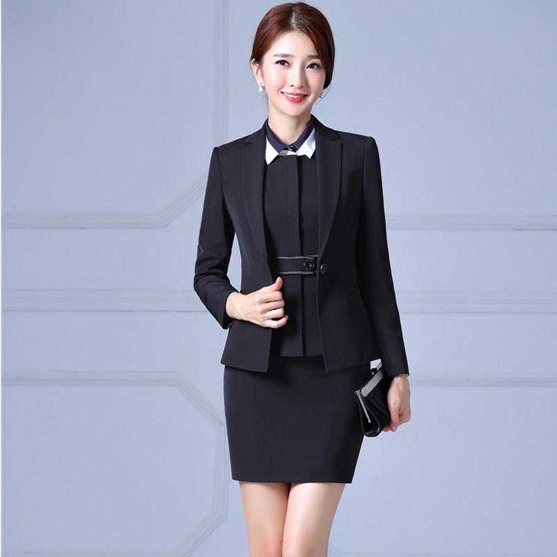 [해외]가을 겨울 전문 비즈니스 Work Suits 4 개 자켓 + 조끼 + 치마 + 블라우스 미장원 블레이저 플러스 사이즈 4XL/Autumn Winter Professional Business Work Suits4 Pieces Jackets + Vest + Skir