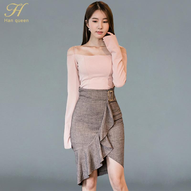 [해외]H 한 여왕 새로운 2 조각 세트 여성 오프 어깨 자르기 탑 스커트 세트 슬림 프릴 불규칙한 작업 캐주얼 연필 스커트 양복/H Han Queen New 2 Piece Sets Women Off The Shoulder Crop Tops And Skirt Set S