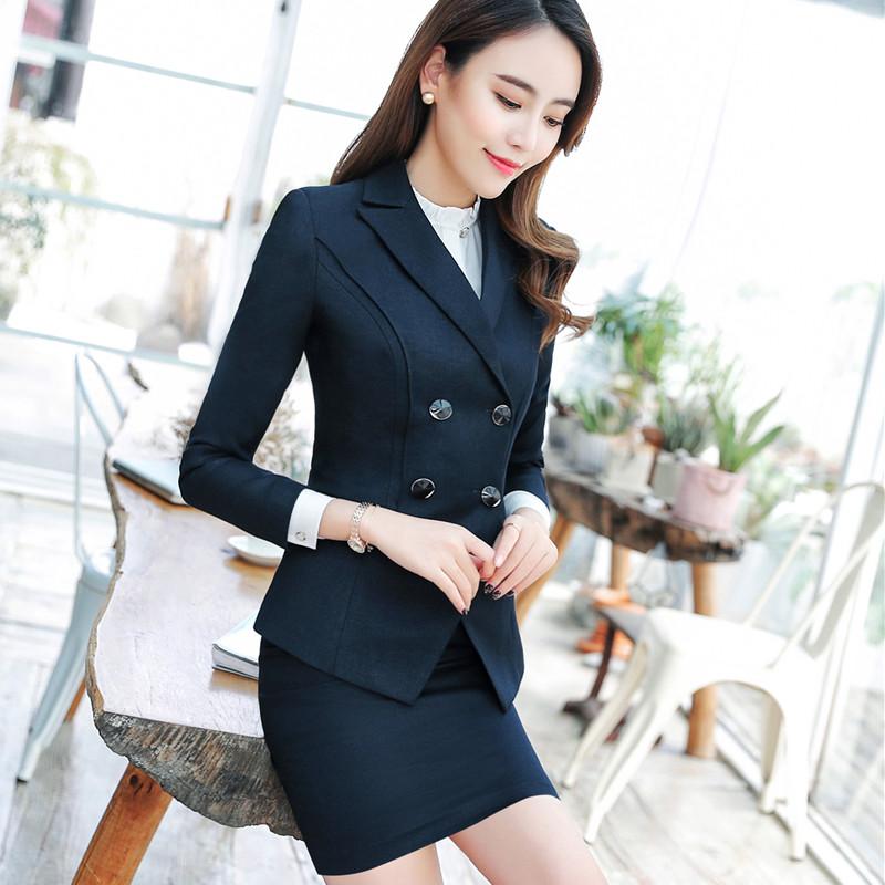 [해외]패션 비즈니스 스커트 복장 세트 봄 슬림 패션 더블 브레스트 긴 Retail 블레이저와 스커트 사무실 숙녀 작업 착용/Fashion business skirt suits set spring Slim fashion Double Breasted long sleeve