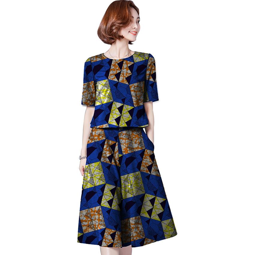 [해외]아프리카 여성 의류 Tshirt 패션 인쇄 탑스와 스커트 세트 여성 파티 칼라 스커트 탑스 세트 아프리카 여성 의상 커스텀/Africa Women Clothes Tshirt Fashion Print Tops And Skirt Sets Woman Party Col