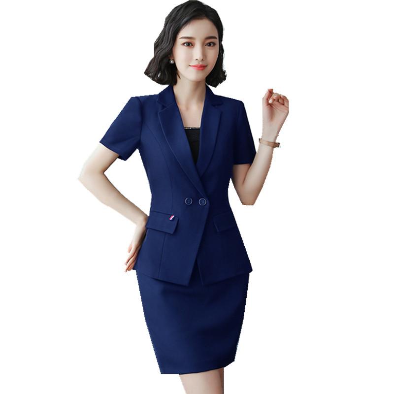 [해외]Fmasuth Summer 2 piece 공식 오피스 스커트 SuitShorts 슬리브 자켓 + 여성용 스커트 커리어 유니폼 HPZ-SY-6839TQ/Fmasuth Summer 2  pieces Formal Office Skirt SuitShort Sleeve