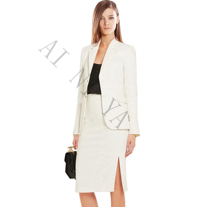 [해외]가을 겨울 2 조각 세트 여성 우아한 비즈니스 스커트 정장 긴 Retail 아이보리 여성 사무실 통일 숙녀 정식 OL 작업복/Autumn Winter 2 Piece Set Women Elegant Business Skirt Suits Long Sleeve Ivo