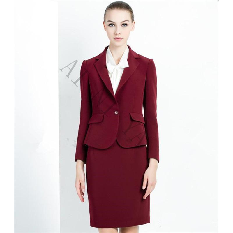 [해외]와인 레드 스커트 정장 여성 사무실 숙녀 2 피스 정장 정장 OL 취업 비즈니스 우아한 여성 오피스 유니폼/Wine Red Skirt Suit Women Office Ladies 2 Piece Suits  Formal OL Work Wear Business El