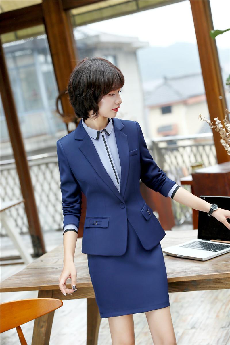 [해외]새로운 스타일 2018 봄 가을 공식 블레이저 정장 여성용 재킷 및 치마 비즈니스 작업복 커리어 복장 세트/New Styles 2018 Spring Fall Formal Blazers SuitsJackets And Skirt For Women Business W