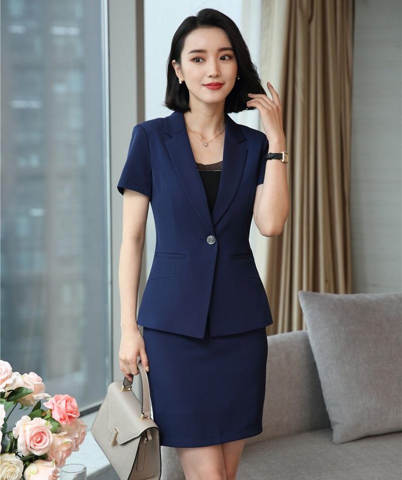 [해외]새로운 스타일 2018 여성 비즈니스 정장 2 조각 스커트와 재킷 세트 블루 블레이저 여름 숙녀 사무복 유니폼 디자인/New Style 2018 Women Business Suits 2 Piece Skirt and Jacket Sets Blue Blazer Su