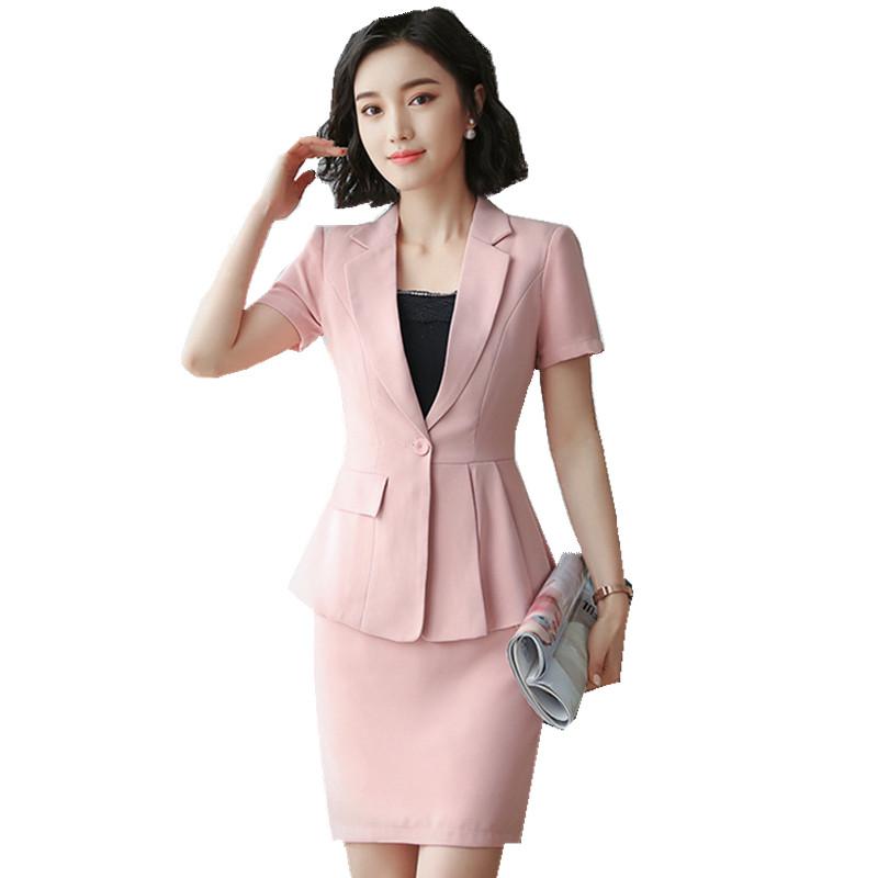 [해외]Fmasuth 여성 비즈니스 정장 스커트 정장 2 조각 반Retail 자켓 + 치마 여름 작업 커리어 여성용 정장 HPZ-SY-6852TQ/Fmasuth Women Business Suits Skirt Suits 2 pieces Short Sleeve Jacke