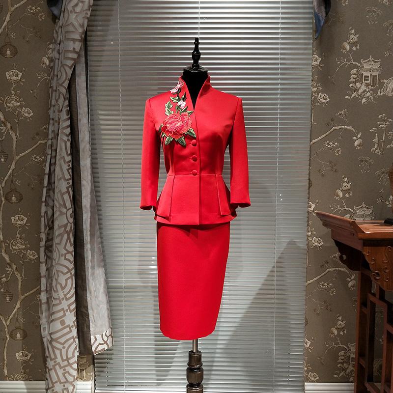 [해외]디자이너 치마 정장 수제 럭셔리 자수 블레이저 정장 스커트 양복 사무용품 숙녀 전문 의류 하이 엔드 여성 블레이 저/Designer Skirt Suit Handmade Luxury Embroidery Blazers Suit Skirts Suit Office La