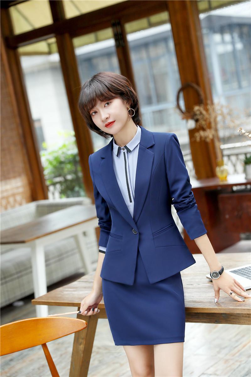 [해외]참신 블루 통일 된 디자인 블레 이저 정장 2 조각 자 켓과 스커트 2018 새로운 스타일 여성 비즈니스 작업 착용 의상 세트/Novelty Blue Uniform Designs Blazers Suits2 Piece Jackets And Skirt 2018 Ne