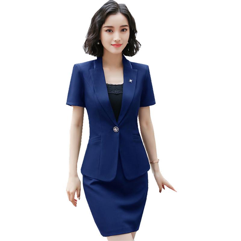 [해외]Fmasuth 4XL 플러스 크기 여름 스커트 정장 여성 비즈니스 세트 짧은 Retail 자 켓 + 스커트 숙 녀 작업 양복 HPZ-SY-6850TQ/Fmasuth 4XL Plus Size Summer Skirt Suits for Women Business Se