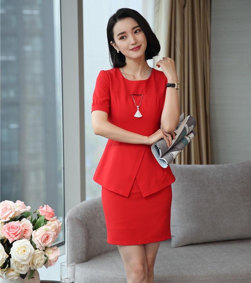 [해외]새로운 스타일 패션 여성 비즈니스 정장 2 피스 치마와 톱 세트 빨간 숙녀 작업복 사무복 제복 디자인/New Style Fashion Women Business Suits 2 Piece Skirt and Top Sets Red Ladies Work Wear Cl