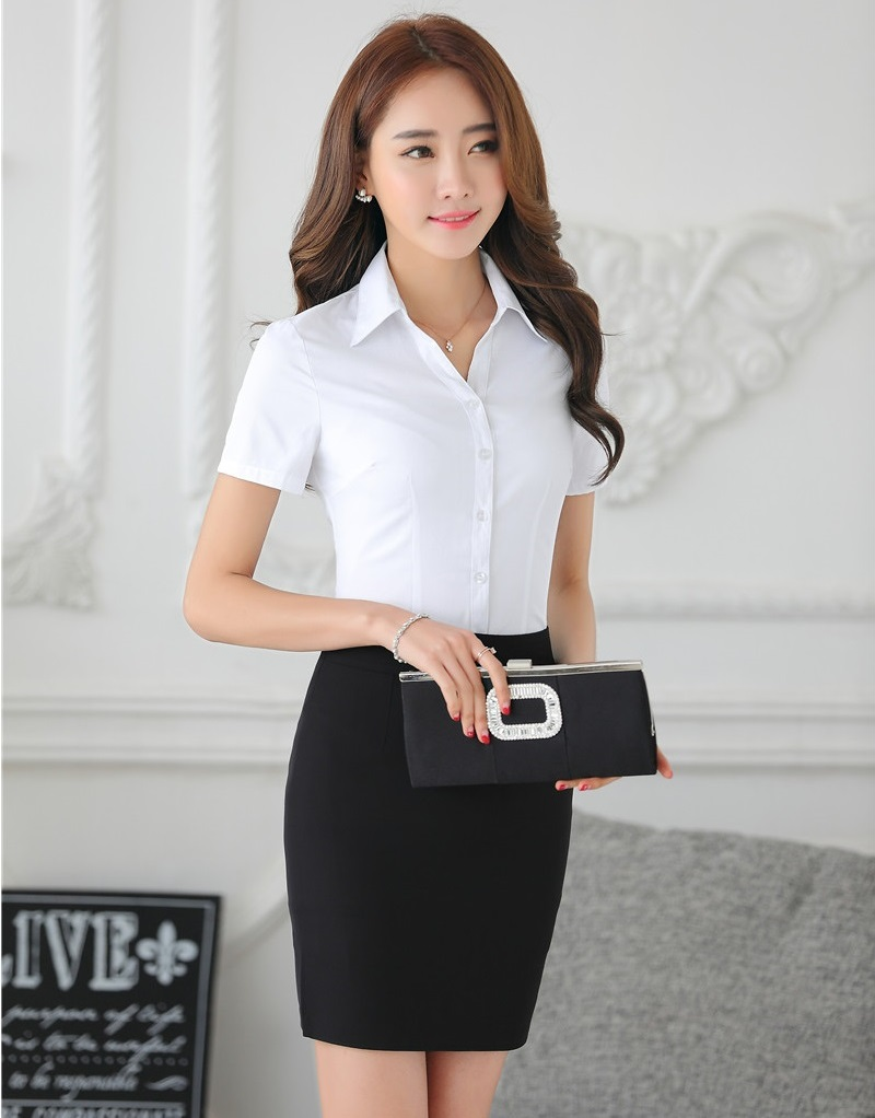 [해외]정장 여자 비즈니스 정장 두 조각 세트 치마와 길어야 세트 화이트 블라우스 & amp; OL 스타일 셔츠/Formal  Women Business SuitsTwo Piece Sets Skirt and Tops Sets White Blouses &