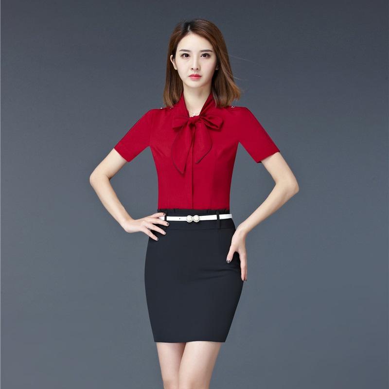 [해외]여름 공식적인 여성 비즈니스 정장 2 피스 스커트 및 탑 세트 Office Ladies Red Blouses Shirts Short Sleeve/Summer Formal Women Business SuitsTwo Piece Skirt and Top Sets Of