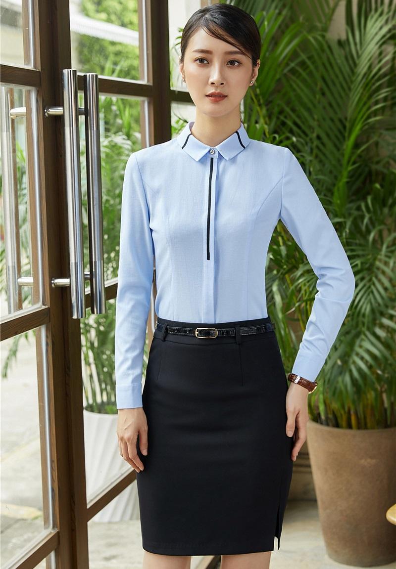 [해외]2 조각 세트 여성 정장 스커트 및 탑 세트 라이트 블루 블라우스 & amp; 셔츠 Office Ladies Work Wear 유니폼 OL 스타일/2 Piece Set Women SuitsSkirt and Top Sets Light blue Blouses