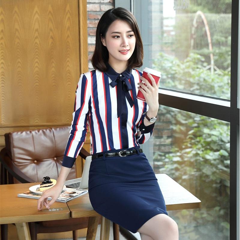 [해외]정장 유니폼 Designs2 조각 가을 겨울 탑과 치마 사무실 숙녀 블라우스 & amp; 셔츠 패션 스트라이프 세트 플러스 사이즈/Formal Uniform Designs2 Piece Fall Winter Tops And Skirt For Office L