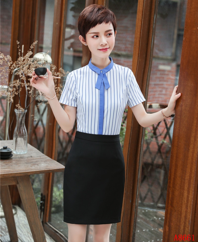 [해외]여름 패션 여성 작업 착용 정장 2 조각 스커트와 탑 세트 스트라이프 블라우스 & amp; 셔츠 반팔 숙녀 비즈니스 옷/Summer Fashion Women Work Wear Suits 2 Piece Skirt and Top Sets Striped Blo