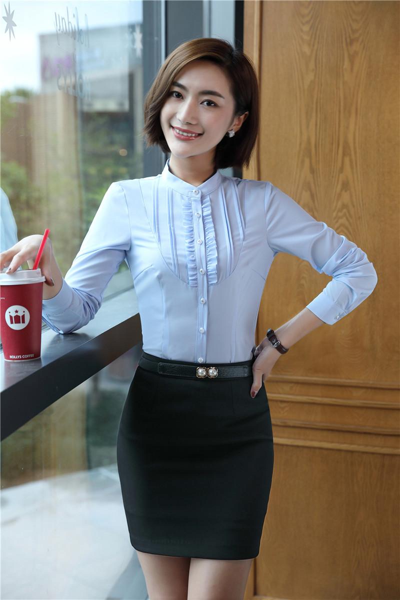 [해외]참신 블루 슬림 우아한 블루 통일 스타일 봄 가을 정장 2 여자 탑스와 스커트 블라우스 & amp; 셔츠 세트/Novelty Blue Slim Elegant Blue Uniform Styles Spring Fall Suits2 Piece Tops And