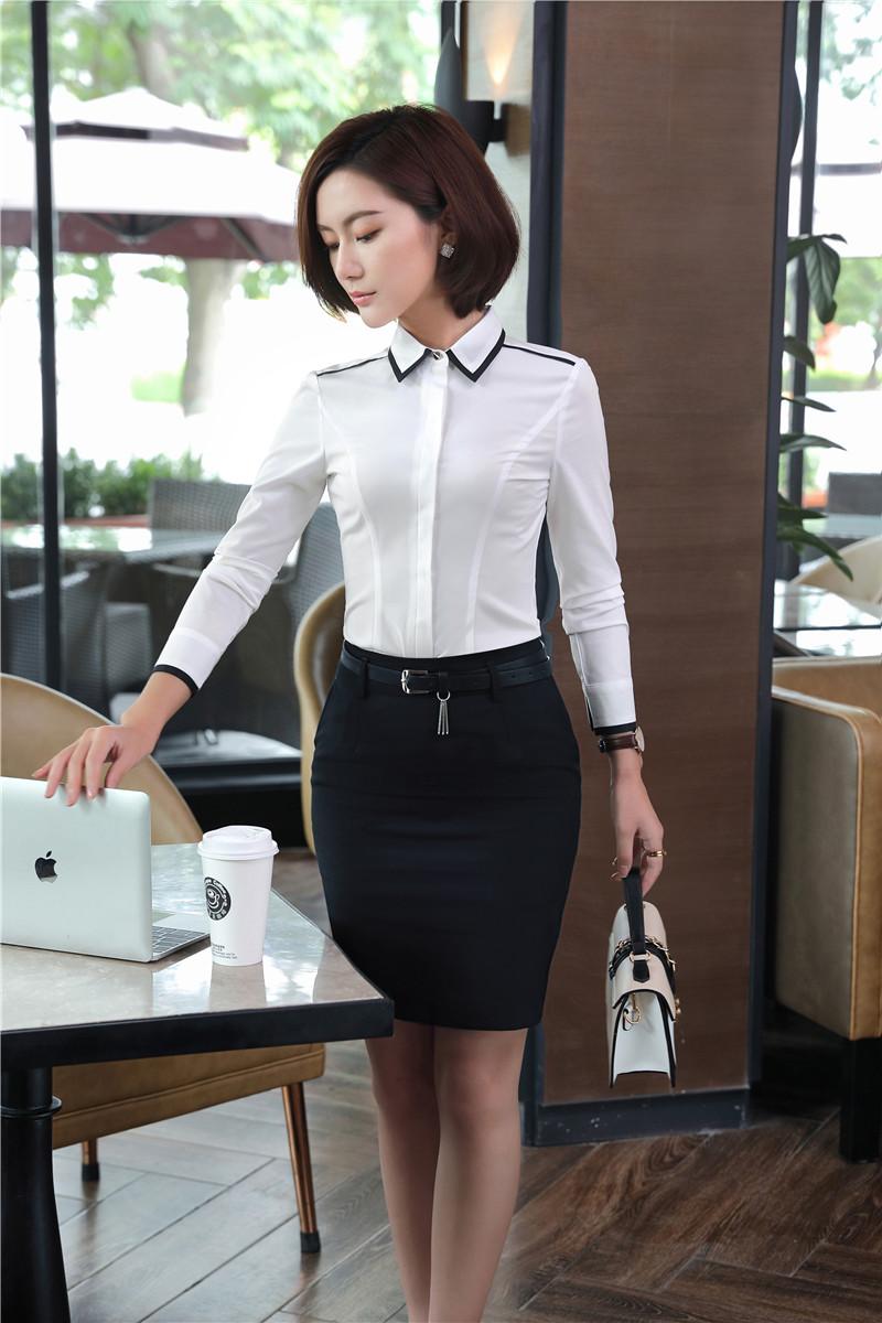 [해외]우아한 화이트 슬림 패션 작업 정장 2 조각 탑스와 스커트 비즈니스 여성용 블라우스 & amp; 셔츠 여성 유니폼 세트/Elegant White Slim Fashion Work Suits2 Piece Tops And Skirt For Business Wo