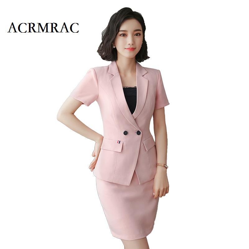 [해외]ACRMRAC 여성 새 여름 정장 짧은 정장 순수한 컬러 슬림 더블 브레스트 재킷 스커트 비즈니스 OL 정장 스커트 정장/ACRMRAC Women New Summer suit Short suit Pure color Slim Double Breasted jacke