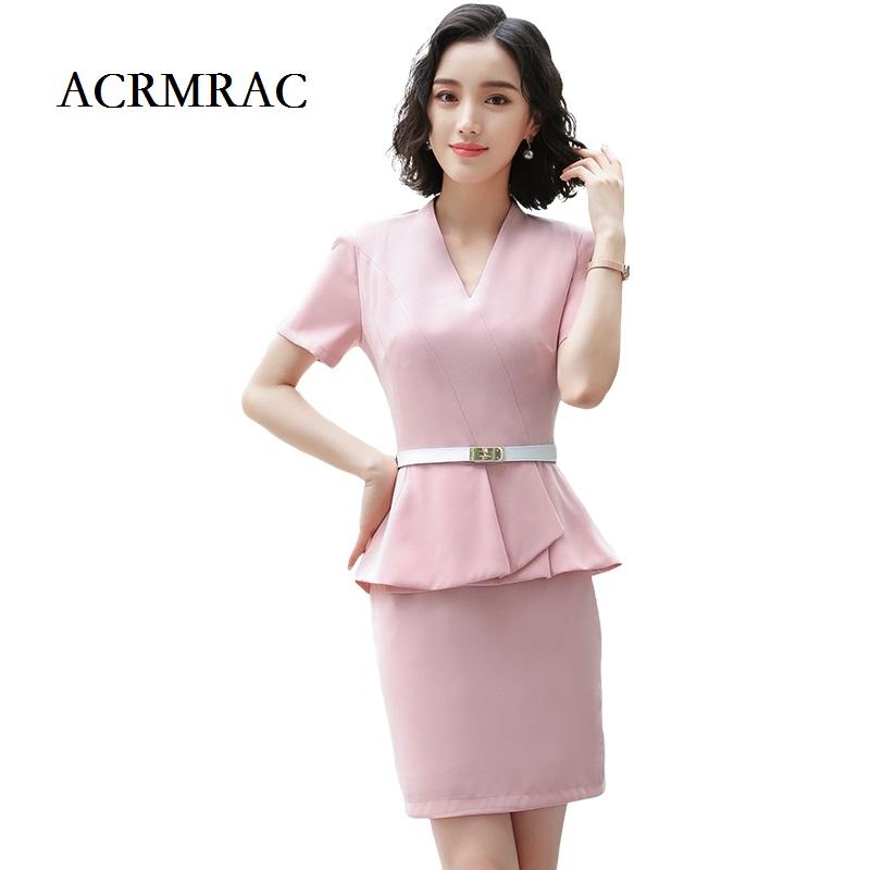 [해외]ACRMRAC 여성 의류 새로운 디자인 반Retail 순수한 색상 자체 재배 V-neck 재킷 스커트 OL OL 정장 스커트 정장/ACRMRAC Women&s clothing New Short sleeve Pure color Self-cultivation V-N