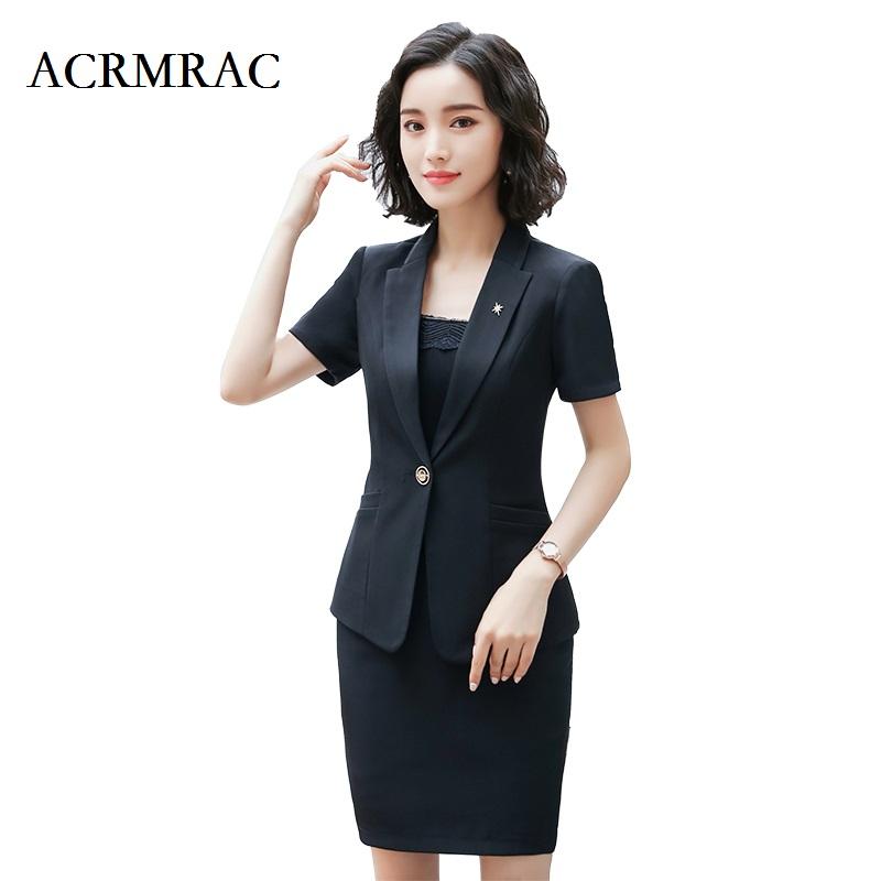 [해외]ACRMRAC 여성 새 스타일 여름 정장 짧은 정장 순수한 색상 슬림 재킷 스커트 비즈니스 OL 정장 스커트 정장/ACRMRAC Women New style Summer suit Short suit Pure color Slim jacket skirt Busine