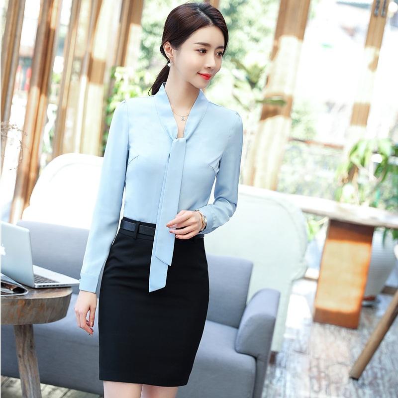 [해외]유니폼 스타일 봄 가을 포마 2 PieceSkirts 및 비즈니스 여성을정상 Office Work Wear Blouses & amp; 셔츠 세트/Uniform Styles Spring Fall Forma 2 PieceSkirts And Tops For B