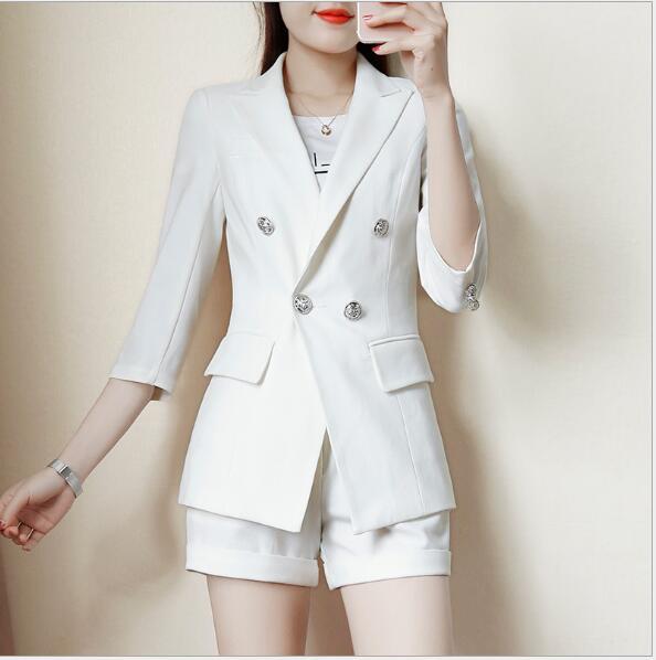 [해외]세련된 여름 여성 스트라이프 정장 우아한 비즈니스 공식 긴 Retail 블레이저 + 반바지 사무용 여성 플러스 사이즈 작업복/Chic Summer women Striped suits set elegant Business formal long sleeve Blaz