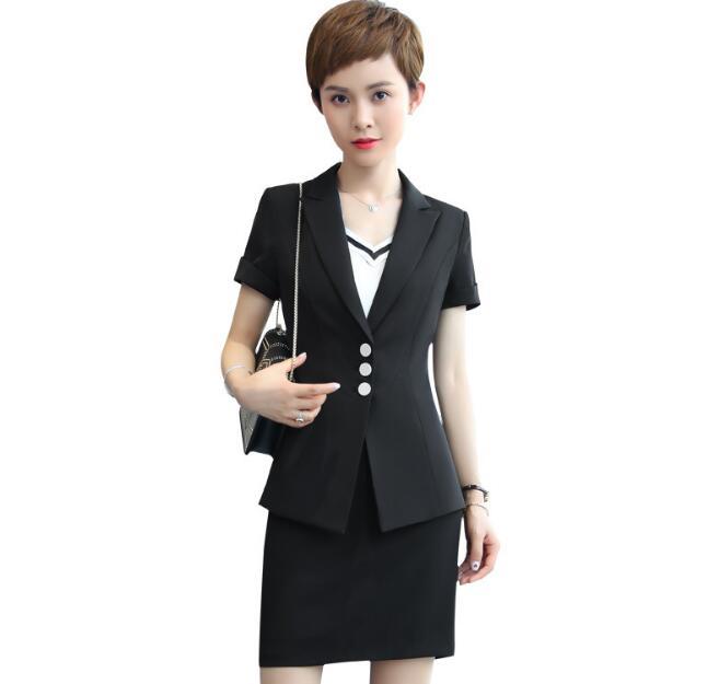 [해외]2018 뉴 여름 여성 치마 정장 우아한 정장 비즈니스 정장 반팔 흰색 검은 사무실 레이디 플러스 사이즈 작업복/2018 New Summer women skirt suits set elegant Business formal Short  sleeve white b