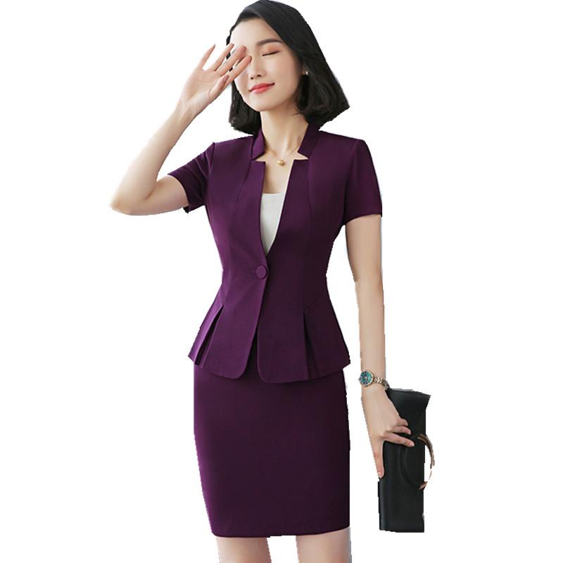 [해외]여자를Fmasuth 비즈니스 스커트 세트 V 넥 짧은 Retail 슬림 허리 블레이저 + 정장 스커트 여성 2 PC를 설정 작업복 TYEJ1802011/Fmasuth Business Skirt Set for Women V Neck Short Sleeve Slim
